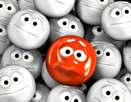 indifferent: Angry emoticon face among other grey, neutral, indifferent faces