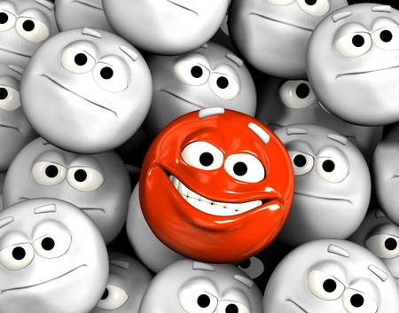 Happy laughing emoticon face among other grey, neutral, indifferent faces photo
