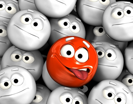 neutral face: Funny emoticon face showing tongue among other grey, neutral, indifferent faces Stock Photo