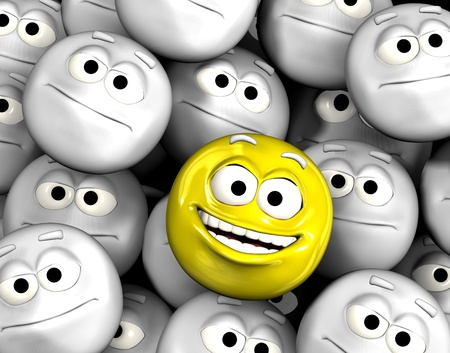 indifferent: Happy laughing emoticon face among other grey, neutral, indifferent faces