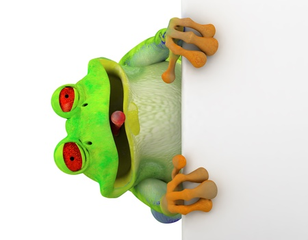 funny frog: Happy smiling toon frog saying hi and holding a white card, banner from side