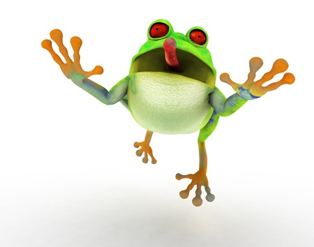 Toon frog jumping in a fly catch pose. Front view, on white