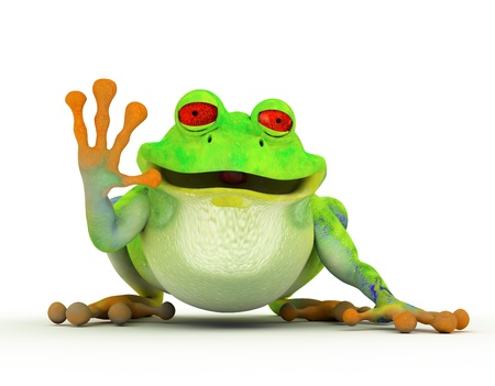 Happy smiling toon frog saying hi  On white photo