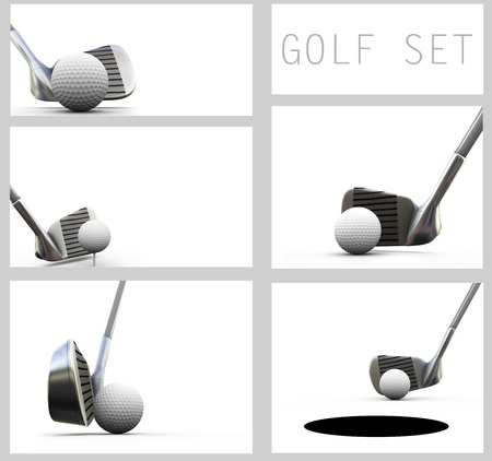 golfball: Playing golf, isolated on white set  Golf ball and club