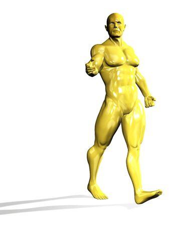 Gold hero man statue walking  Isolated on white photo