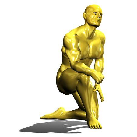arrodillarse: Estatua de oro el hombre héroe en arrodillarse actitud aislado en blanco