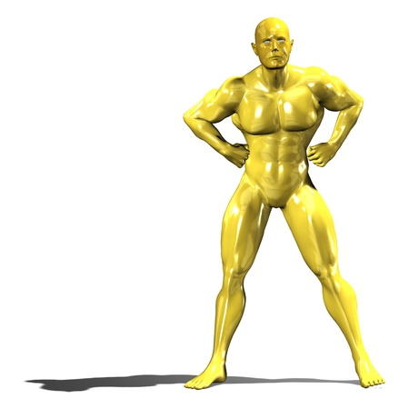 stubborn: Gold hero man statue in confident standing pose. Isolated on white