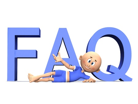 cute guy: FAQ 3d letters and a cute toon guy presenting the text