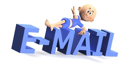 e mail: E-mail text in 3d with a cute toon guy on it