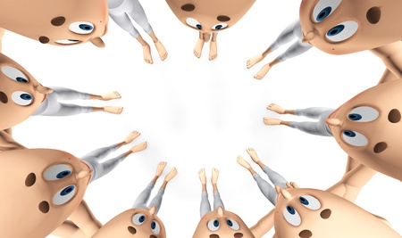 deliberation: Team spirit, business debate and strategy consultation  3d little humans Stock Photo