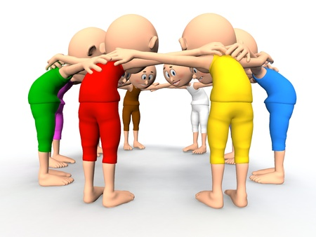 Team spirit, business debate and strategy consultation  3d little humans Stock Photo