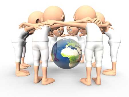 deliberation: Team spirit, debate about the Earth, environment  3d little humans Stock Photo