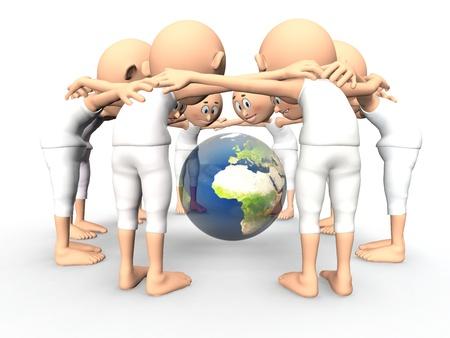 team spirit: Team spirit, debate about the Earth, environment  3d little humans Stock Photo