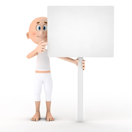 Toon guy holding a blank white board, table  photo
