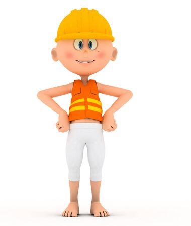Toon builder, worker in standing, confident  On white photo
