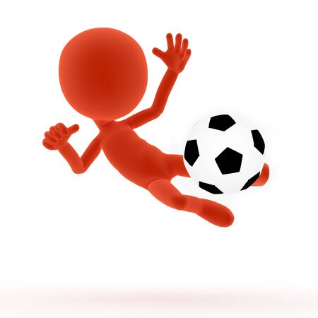 kicking ball: Football, soccer shooting, jumping pose  3d little people  On white Stock Photo