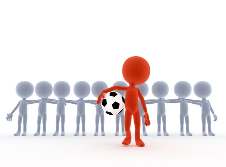 Football, soccer team leader with ball and his people  Toons, conceptual photo