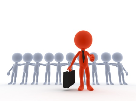 3d small people: Business team leader, boss concept. 3d people Stock Photo