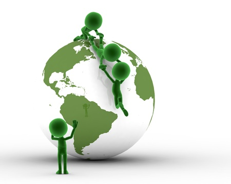 environment issues: Earth globe conceptual. Helping to get on the peak and other concepts. Environment, ecology.