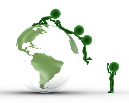 helping people: Earth globe conceptual. Helping to get on the peak and other concepts. Environment, ecology.