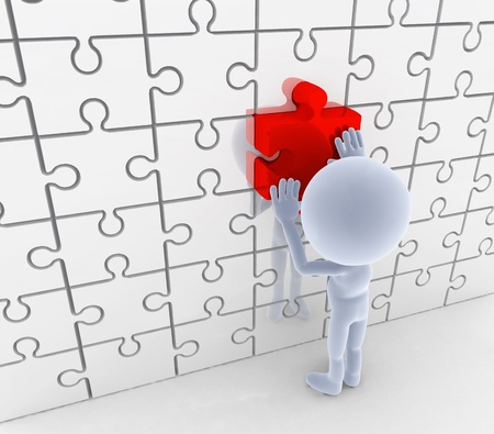 matching: Puzzle, la coincidencia de rompecabezas. De soluciones, conceptos idea. Las personas 3d Foto de archivo