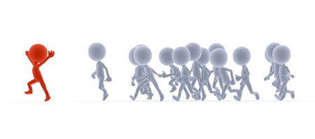 Toon people running in conceptual race, competition. A happy leader. Side view Stock Photo - 13149581