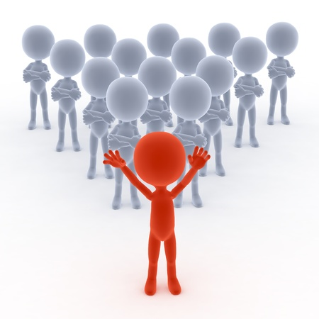 Business team leader with his people. 3d little humans Stock Photo