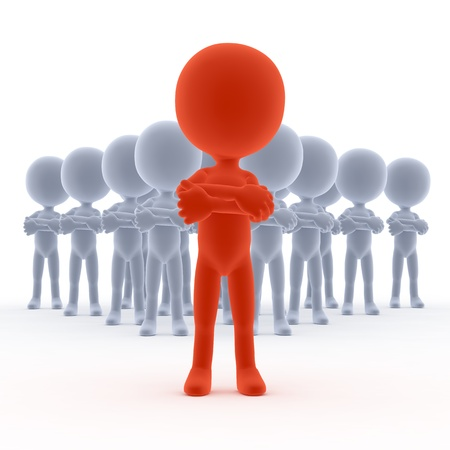 team spirit: Business team leader with his people. 3d little humans Stock Photo