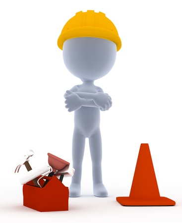 Builder, toon werknemer met tools, op wit Stockfoto