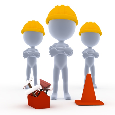 small tools: Builders, toon workers team with tools on white