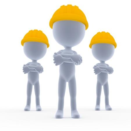 Builders, toon workers team on white