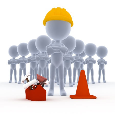Builders, toon Arbeiter Team mit Werkzeugen auf weiß