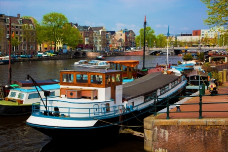 Amsterdam, Holland, Netherlands. Old town canal, boats. Stock Photo - 13718187