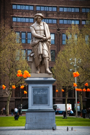 rembrandt: The statue of Rembrandt, Amsterdam, Holland, Netherlands Stock Photo
