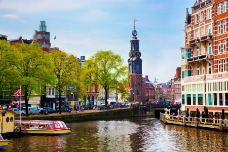 amsterdam canal: Amsterdam, Holland, Netherlands. Old town canal, boats. Stock Photo