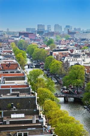 Amsterdam, Holland, Netherlands. Vertical city view from Westerkerk. photo