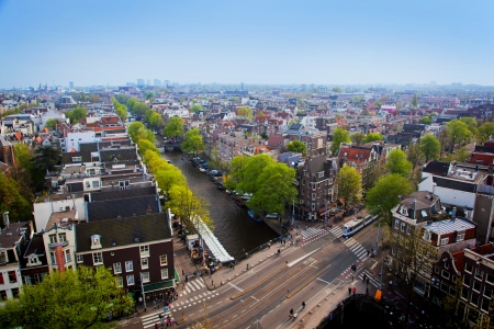 amsterdam canal: Amsterdam panorama, Holland, Netherlands. City view from Westerkerk