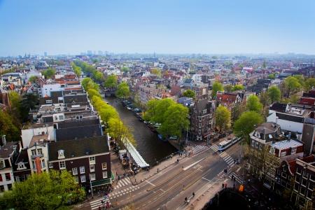 Amsterdam panorama, Holland, Netherlands. City view from Westerkerk