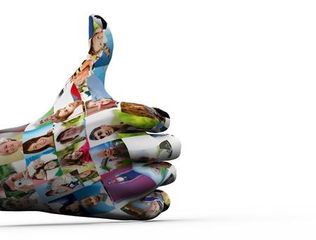 caritas pintadas: Los medios de comunicación de las redes sociales. Pintado a mano en la gente se enfrenta a mostrar signo de OK
