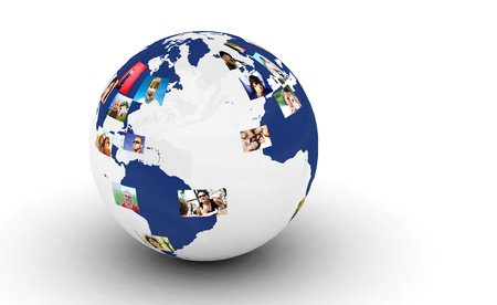 Earth with people photos in network. Internet, social media