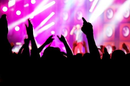 concierto de rock: Las personas con las manos hasta que se divierten en un concierto de música  disco partido. Foto de archivo