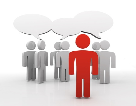 verbal communication: People having discussion, blank speech bubbles. One red man in front.