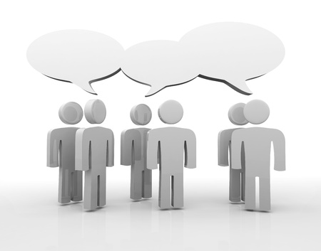 People having discussion, blank speech bubbles. Stock Photo - 14478195