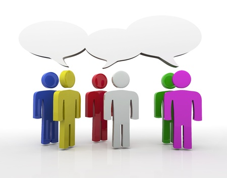 verbal: People having discussion, blank speech bubbles. Many colors version