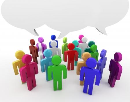gossip: Mensen die discussie, lege tekstballonnen. Vele kleuren versie