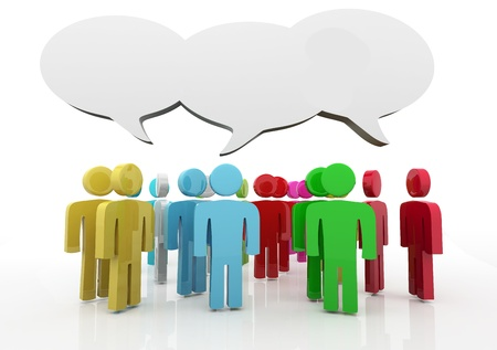 confident man: People having discussion, blank speech bubbles. Many colors version