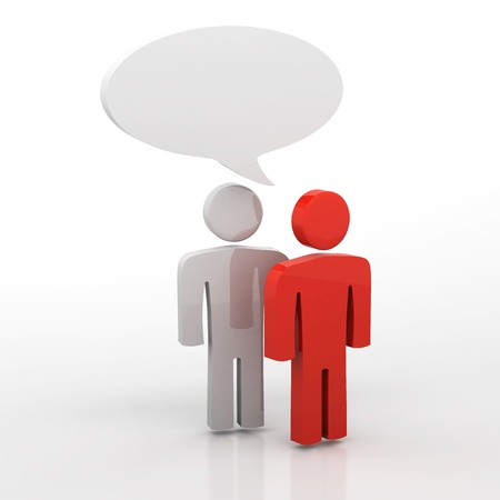 communication cartoon: People having discussion, blank speech bubbles. One red and one white man