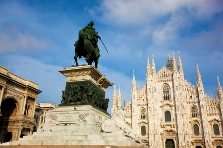 vittorio emanuele: Milan Cathedral, Duomo and Vittorio Emanuele II statue and Gallery. Lombardy, Italy.