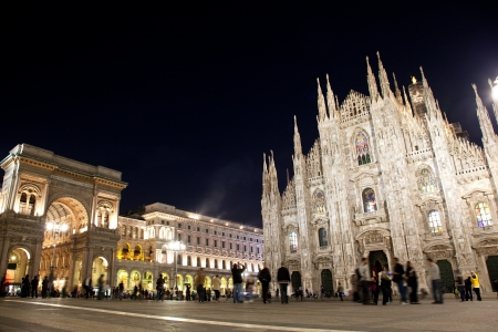 cathedrals: Milan Cathedral, Duomo and Vittorio Emanuele II Gallery at Piazza del Duomo. Lombardy, Italy.