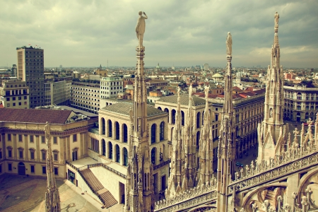 Milan, Italy architecture. View from Milan Cathedral on Royal Palace of Milan - Palazzo Realle. photo